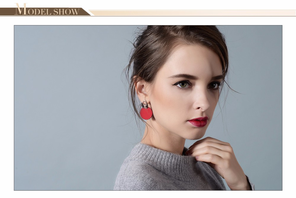 Viennois Fashion Jewelry Blue & Red Dangle Earrings for Woman Rose Gold Color Earrings Trendy Long Round Earrings 3
