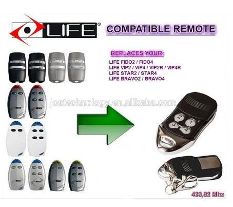 LIFE FIDO2 / FIDO4 / VIP2 / VIP4 / VIP2R / VIP4R / STAR2 / STAR4 / BRAVO2 / BRAVO4 replacement garage door remote control fido