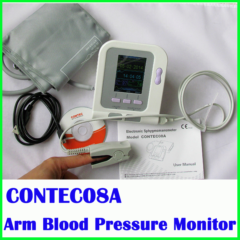 CONTEC 08A/CONTEC08A + Oximeter probe Digital Automatic NIBP Monitor Sphygmomanometer Free Shipping citizen fe1081 08a