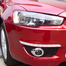 Free Shipping High Quality ABS Chrome Front Fog lamps cover Trim Fog lamp shade Trim For Mitsubishi Lancer free shipping car bifocal fog lens front bumper lights assembly for mitsubishi lancer fortis 13 taiwan product good quality