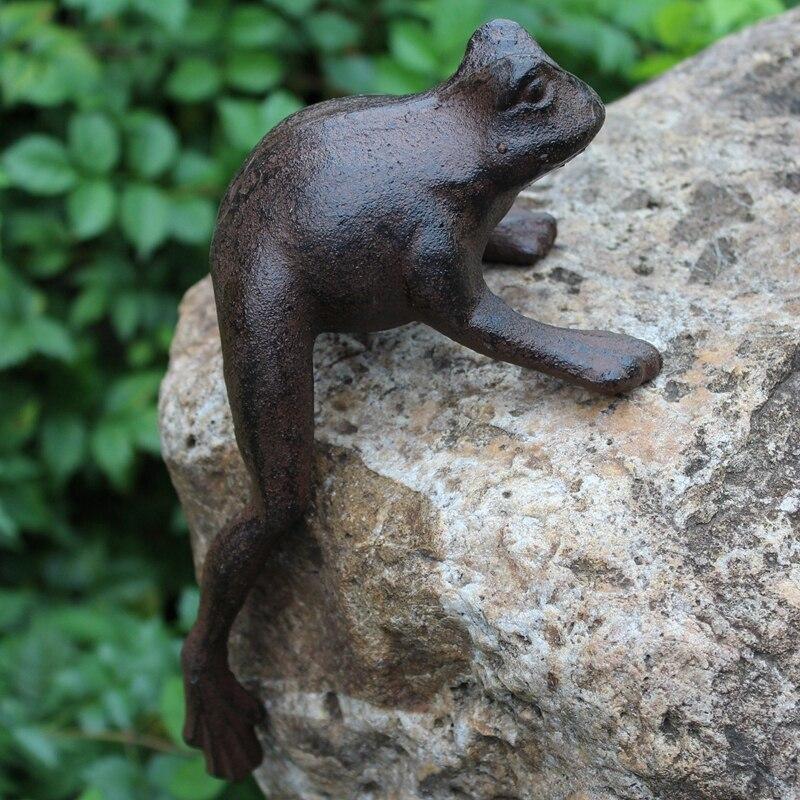 Estatua de rana de hierro fundido, figuritas de rana, decoración Vintage para el hogar Aspersor rotativo de 360 ángulos con rosca macho de 1/2 pulgadas, riego de césped para Agricultura, Riego de jardín, 1 Uds