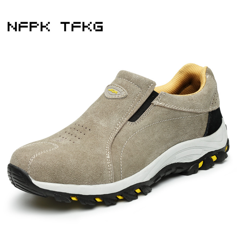 men's casual breathable steel toe covers work safety summer shoes suede leather tooling boots slip on security footwear big size