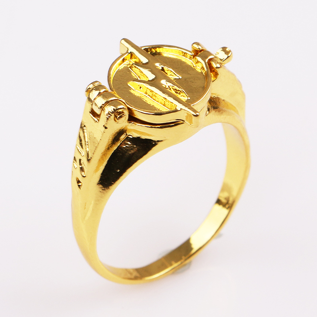 RJ DC Movie Superhero The Flash Rings Gold Flash Lighting Logo Ring Can Open Cov