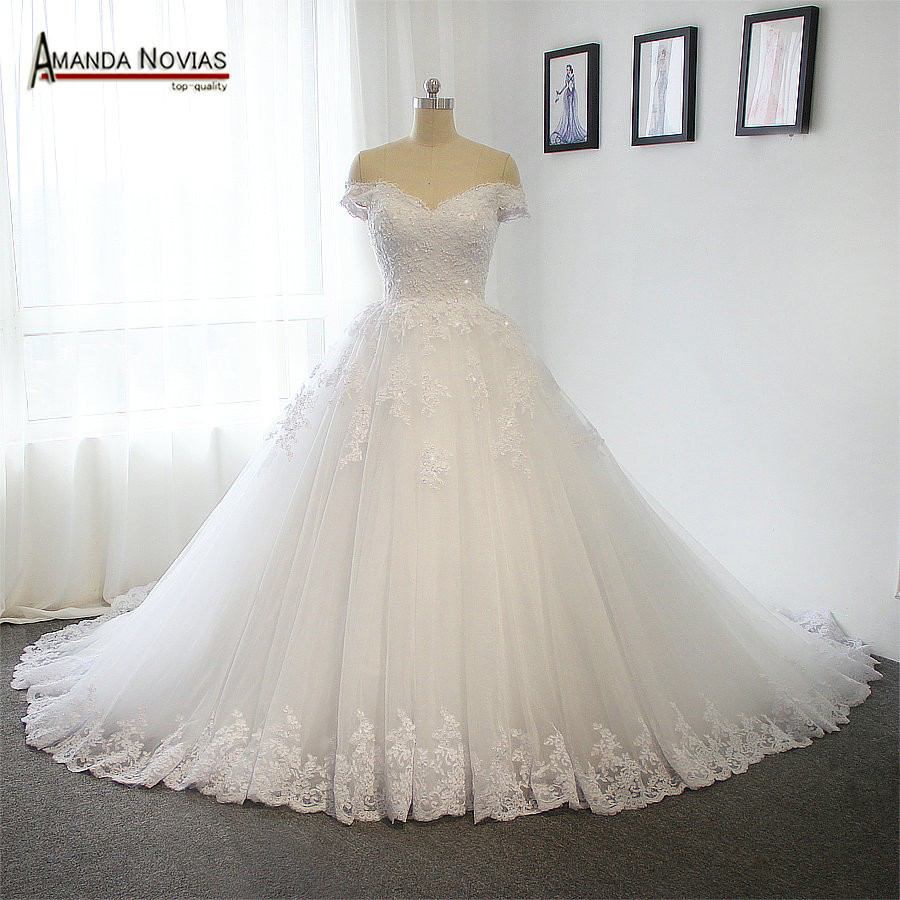 New Model 2019 Off the Shoulder Sleeves Wedding Dress With Long Train 100 Real Photos