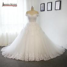 نموذج جديد 2019 قبالة الكتف الأكمام فستان الزفاف مع قطار طويل 100% صور حقيقية
