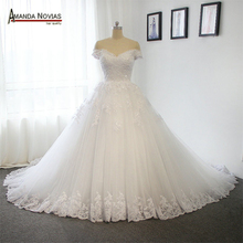 New Model 2019 Off the Shoulder Sleeves Wedding Dress With Long Train 100% Real Photos