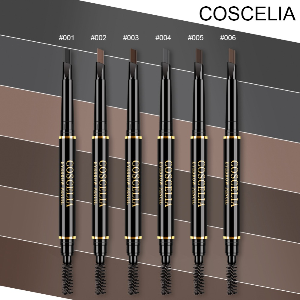 COSCELIA 6 Color Double Ended <font><b>Eyebrow</b></font> Pencil Waterproof Long Lasting No Blooming Rotatable Triangle Eye Brow <font><b>Tatoo</b></font> <font><b>Pen</b></font> Enhancer image
