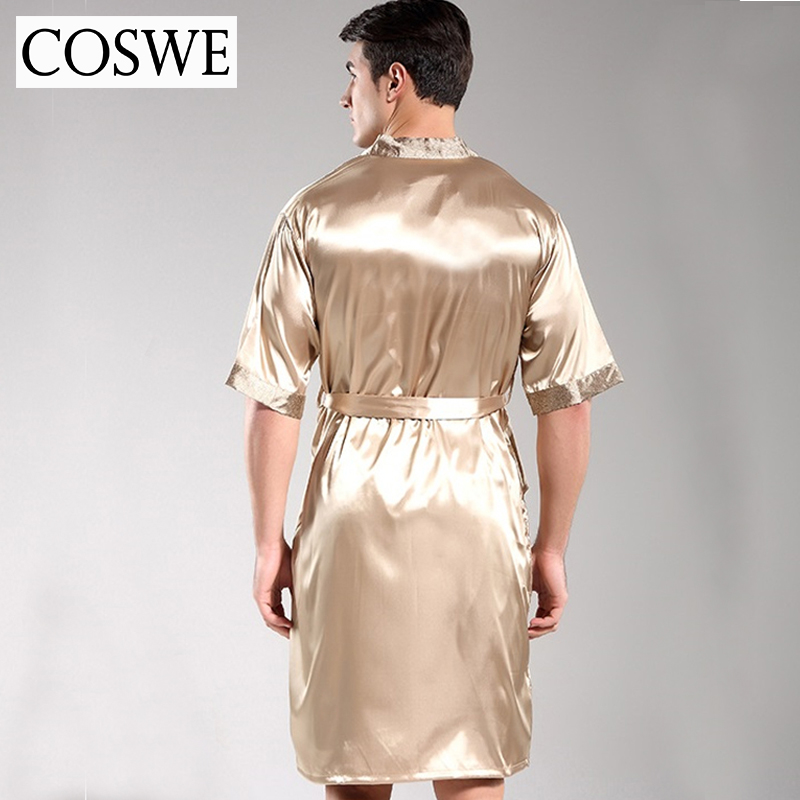 COSWE New Men Robe Mens Silk Dressing Gown Mens Satin Bathrobe Sexy Robes  Pijamas Masculinos Nightgowns For Male Night Gowns-in Robes from Underwear  ... a7a1cfdc6