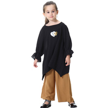 Arab Clothes Muslim Girls Loose Tops and Pants Sets Children`s Sweet