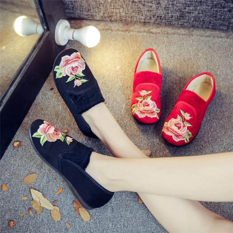 Fleur Chaussures Plates D'été Feminino rouge Vieux Broderie Pékin Femmes Sapato 35 Dentelle Appartements Occasionnels Creux 41 Noir Espadrilles Ballerine v0wmnyNOP8