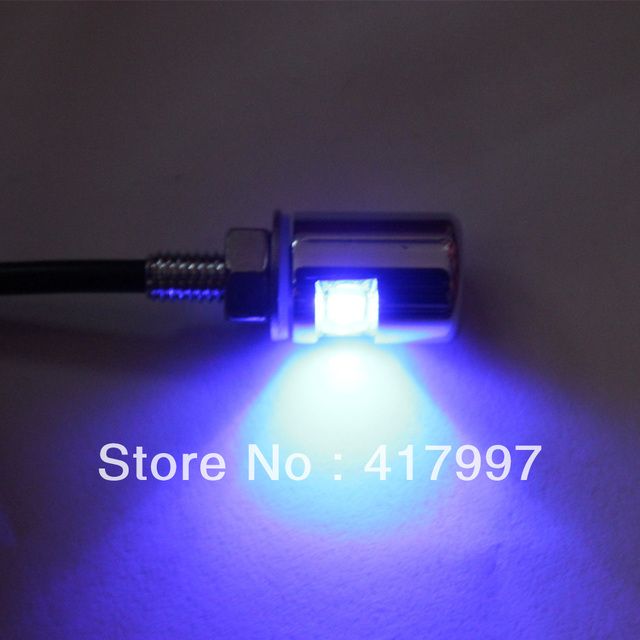 LPL-007-CR-BL One Pair Blue LED Stylish License Plate Bolt Light Motorcycle Auto Car Truck