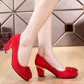 Mulheres Vermelho sapatos de Casamento Sapatos de Noiva Sapatos de Casamento Flor de Strass Vermelho sy-1730