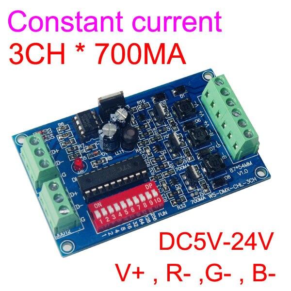 wholesale 1pcs DMX-CHL-3CH-700MA Constant Current 3CH DMX512 decoder RGB led controller,dimmer For DC5V-24V led strip lamp light