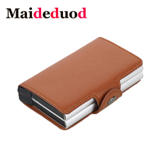 Maideduod  2018 Men And Women Business Credit Card Holder Metal RFID Double Aluminium Box Leather Travel Wallet