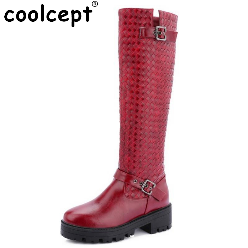 New Fashion Ladies Round Toe Square Heel Knee Boots Women Buckle Style Knight Boot Autumn Winter Footwear Shoes Woman Size 33-43 enmayer green vintage knight boots for women new big size round toe flock knee high boots square heel fashion winter motorcycle