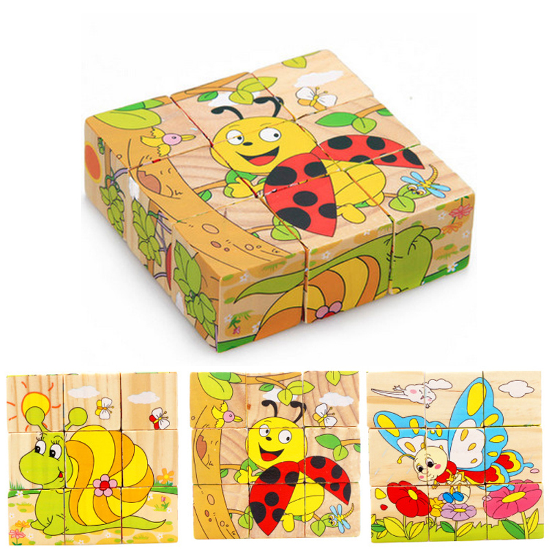 Montessori Toys Children Early Educational Learning Puzzle Wooden Toys 6 Sides Jigsaw Parent-child Game Toys