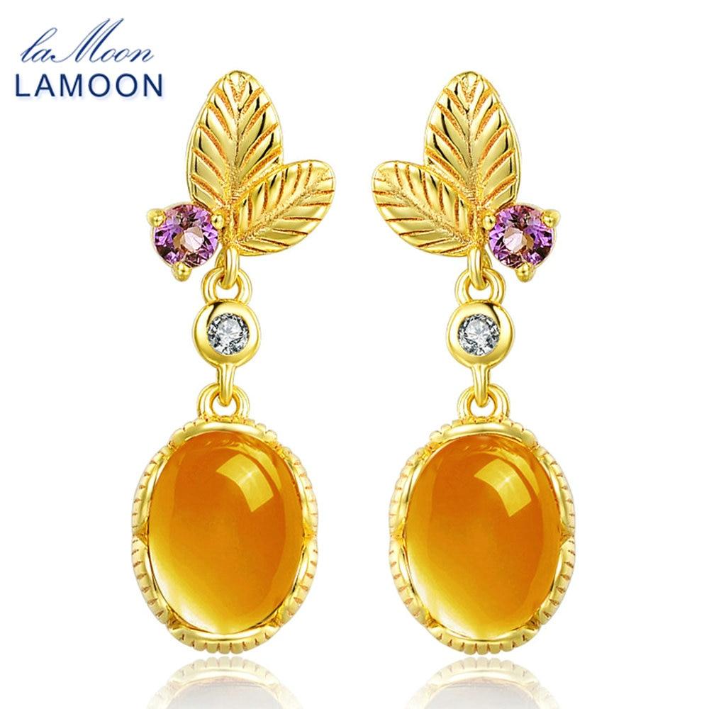 LAMOON Jewelry Drop-Earrings Citrine 925-Sterling-Silver S925 Oval Carat 6x8mm LMEI007
