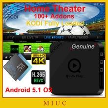[Auténtica] exclusivo XBMC KODI 16.1 a Plena carga Rápida Reproductor de Android 5.1 S905 Amlogic Quad Core Smart TV Box HDMI WiFi 4 K H.265