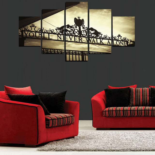 Frame Wall Art Poster Modern 5 Panel You Will Never Walk Alone Living Room Canvas HD Print Painting Modular Home Decor Pictures 1