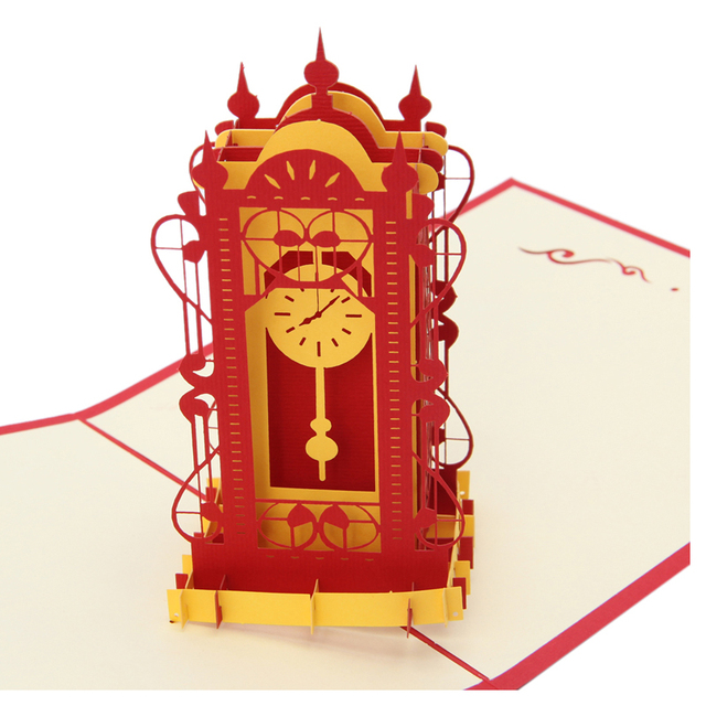 Vintage 3d Pop Up Origami Paper Laser Cut Greeting Cards Swing Clock