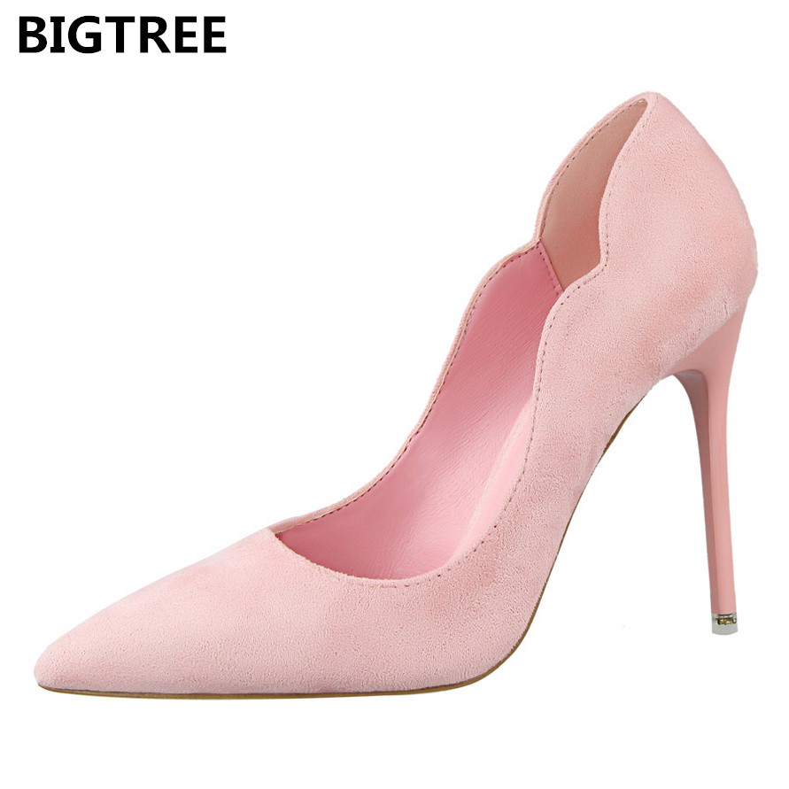 BIGTREE Slip On Women Pumps Spring Autumn Elegant Wedding Shoes High Heel Pointed Toe Ladies Shoes Female XWC0575-5 2017 spring autumn women pumps sexy pointed toe suede ladies shoes big size 32 43 slip on thick heel red wedding high heels