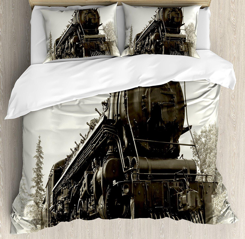 Duvet Cover Set, Antique Northern Express Train Canada Railways Photo Freight Machine Print, 4 Piece Bedding Set