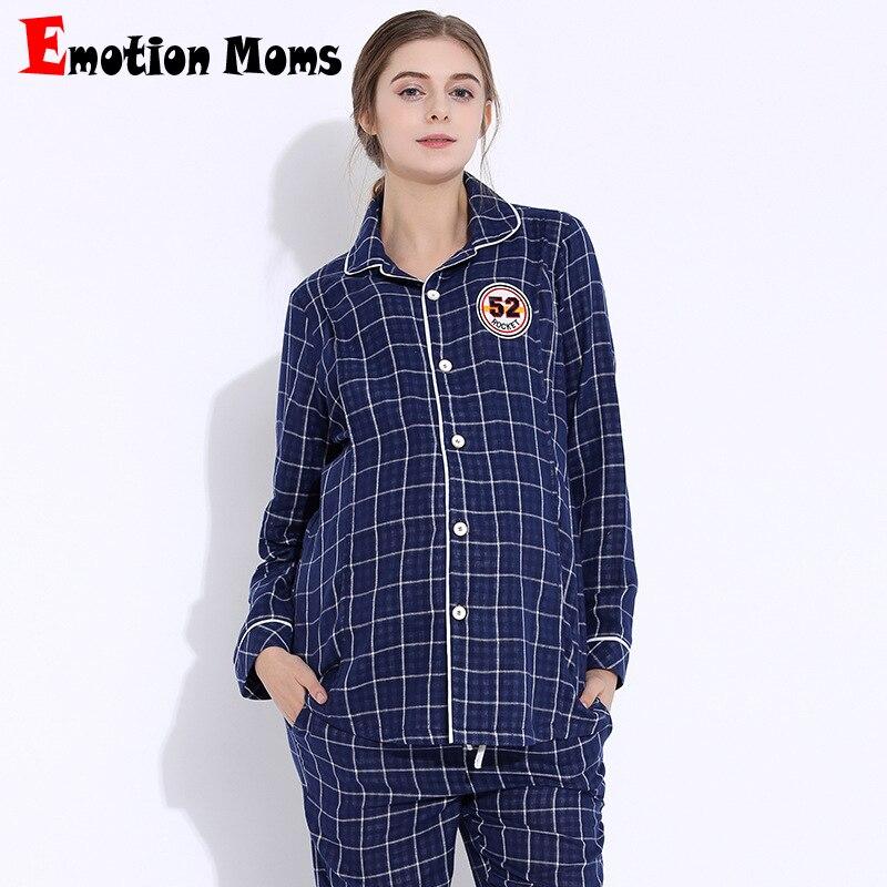 Emotion Moms maternity Pajamas Pregnancy clothes breastfeeding sleepwear Nightwear nursing Pajamas for pregnant women 2Pcs/Set