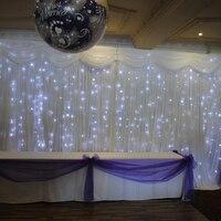 Свет звезды занавес фон белый 3 м х 6 М Длинные свадебные фонов для банкета, вечеринки Свадьба фон занавес с легким