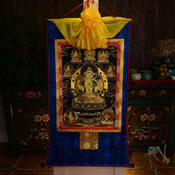 Wholesale Buddhist supplies-120CM LARGE--Buddhism ART Four-armed Avalokitesvara Guanyin Buddha Thang-ga Thangka painting