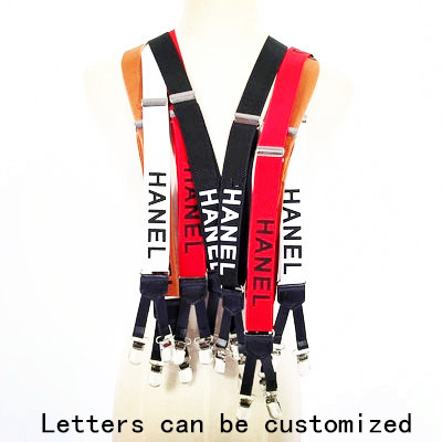 3 Color Width English Alphabet Suspenders Elasticity Leather Stitching 6 Clip For Women Men Fashion Brace