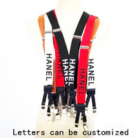 3 Color Width English Alphabet Suspenders Elasticity Leather Stitching 6 Clip For Women Men Fashion Brace Clothing Accessories
