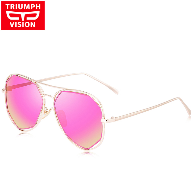 TRIUMPH VISION Polarized Pink Mirror Sunglasses Female Brand 2017 Pilot Polar Sun Glasses For Women Metal Shades Female Style