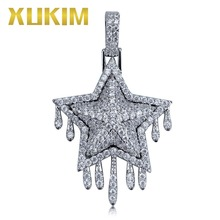 Xukim Jewelry Hip Hop Iced Out Jewelry AAA Cubic Zirconia Fashion Star Pendant Necklace Jewelry xukim jewelry full iced out prong setting aaa cubic zirconia silver color 8mm squire cuban chain necklace hip hop rapper jewelry