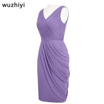 wuzhiyi vestido de madrinha de casamento mother of the bride Custom made Pleat Chiffon vestiti madre della sposa Mother gowns