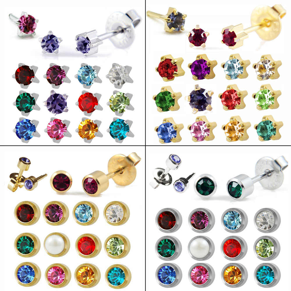 12 pairs Earring Crystal Ear Piercing Birthstone Studs Stainless Steel Cartilage Round Star Studs Earring Piercing Body Jewelry