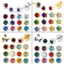 12 pares de pendientes de cristal para oreja, Piercing de piedra de nacimiento, acero inoxidable, cartílago, Estrella redonda, pendientes, Piercing, joyería para el cuerpo