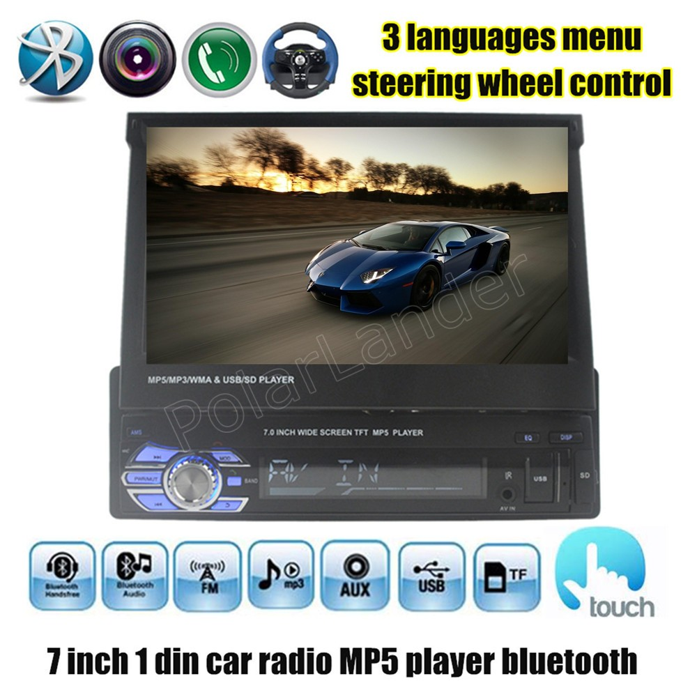 Car Radio MP4 MP5 Player FM Stereo USB TF 1 Din 7 inch video steering wheel control touch screen bluetooth audio stereo new 12v 4 1 inch hd bluetooth car fm radio stereo mp3 mp5 lcd player steering wheel remote support usb tf card reader hands free