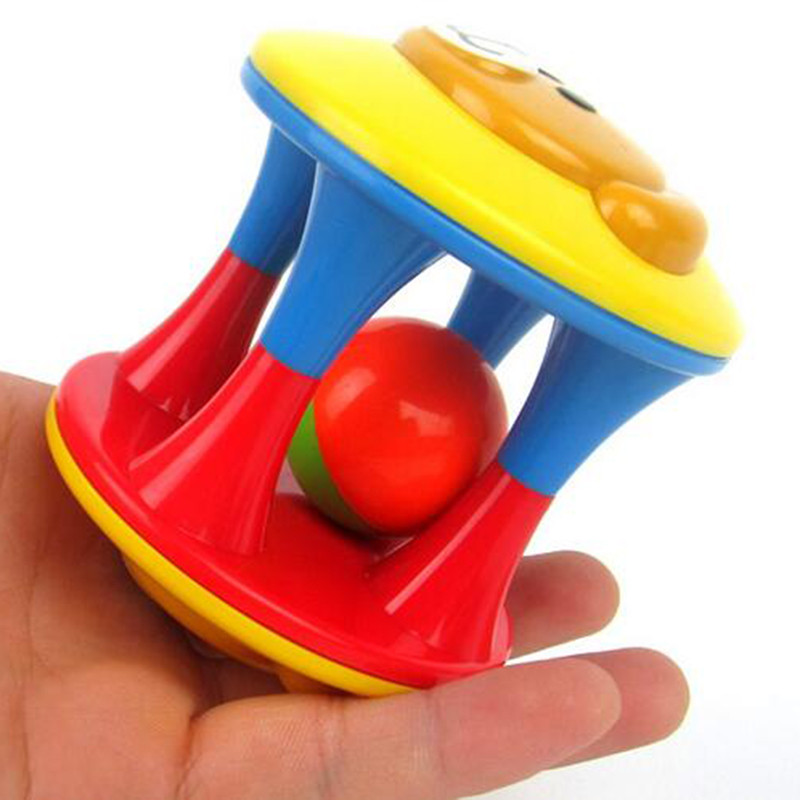 Baby Colorful Plastic Ball Mobile Visual Sensory Hand Ring Bell Rattles Early Educational Hand Development 4 Style Choose