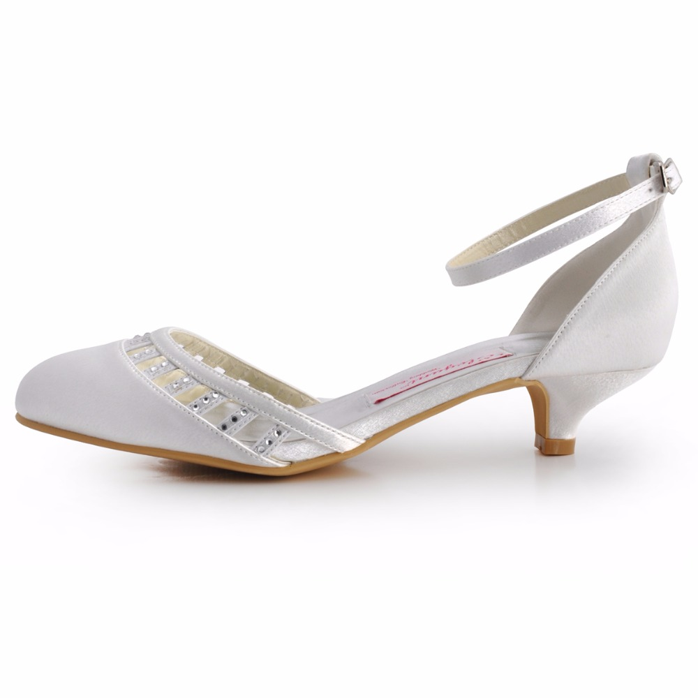 Women Shoes White Ivory Low Heel EL 001 Closed Toe Ankle Strap Comfortable Bride Lady Wedding Bridal Pumps-in Women's Pumps from Shoes    2