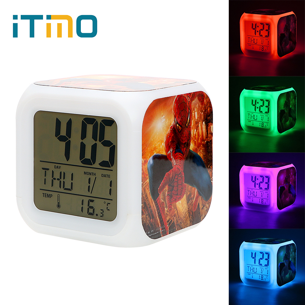 ITimo Bedside Lamp Glowing LED Night Light Color Change Digital Alarm Clock Table Lamp Gift For Friend Aand Children
