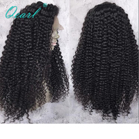 200% 250% Density Lace Front Human Hair Wigs Malaysian Kinky Curly Remy Hair Black Color 13x4 Pre Plucked with Baby Hair Qearl