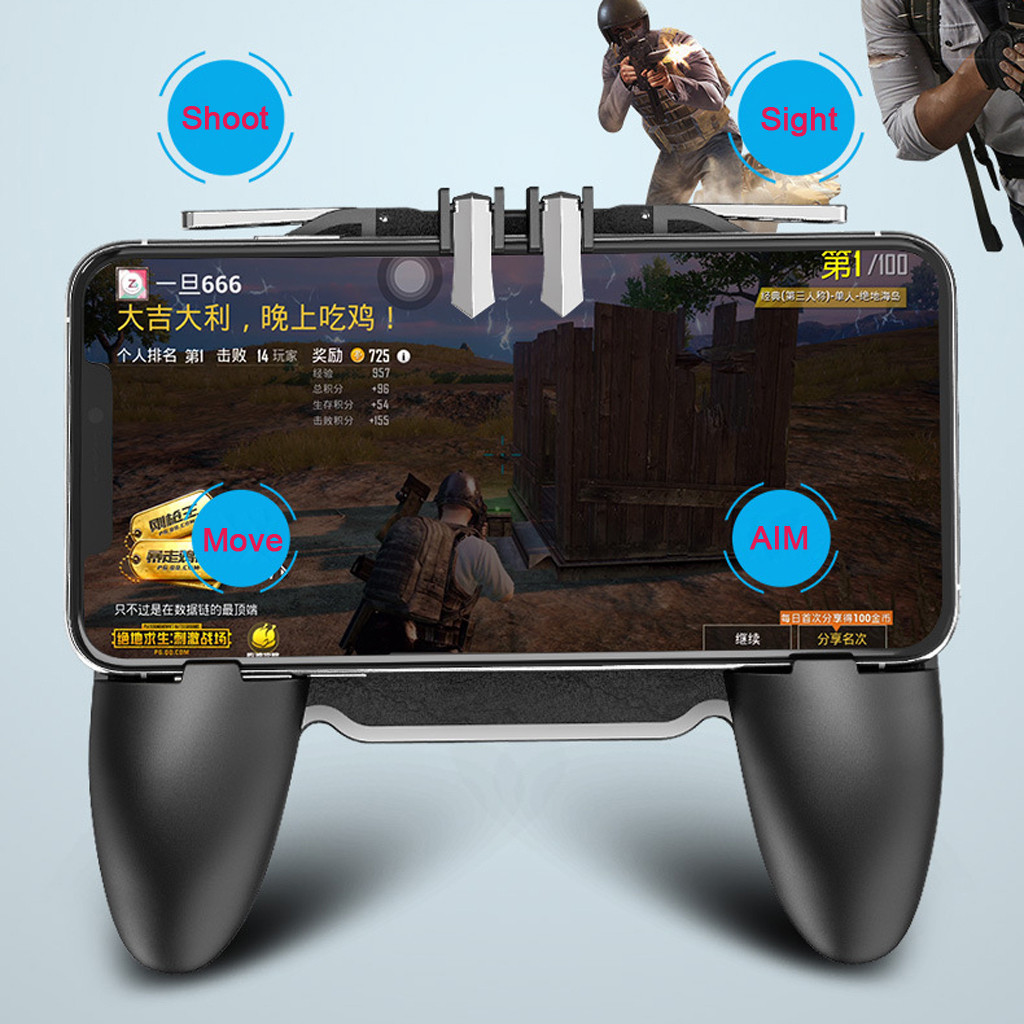 Mobile Game Controller For PUBG 4in1 Gamepad Shoot And Aim Trigger Phone Cooling Mobile Gaming Controller Wholesale