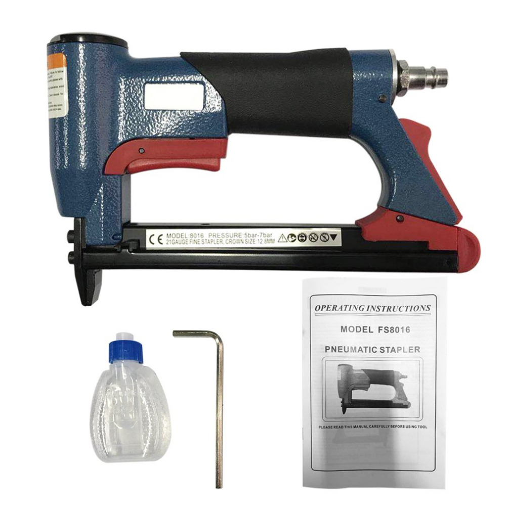 1/2 Fine Crown Nail Stapler Pneumatic Air Stapler Nailer Nail Staple Stapling Gun 4-16mm Woodworking Pneumatic Air Power Tool kit engineering pneumatic air driven mixer motor 0 6hp 1400rpm 16mm od shaft