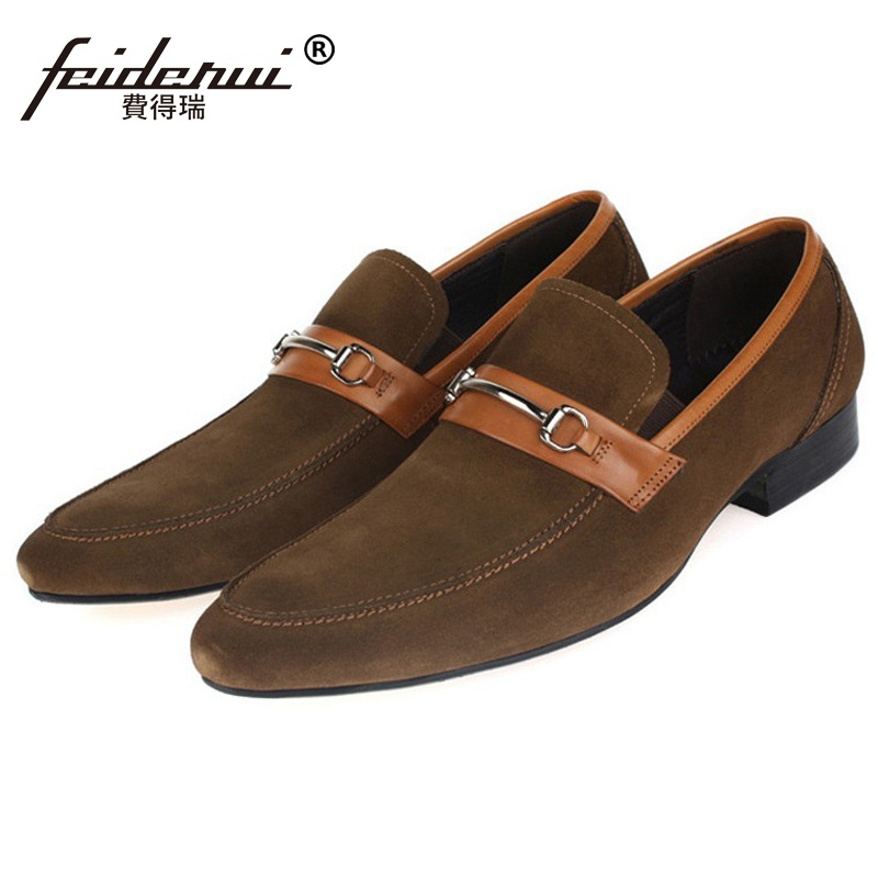2017 Italian Designer Luxury Man Casual Shoes Genuine Leather Suede Loafers Formal Brand Pointed Toe Men's Handmade Flats BD86 luxury pointed toe rivet casual shoes england designer party and banquet men loafers fashion young man walking street shoes