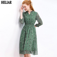 HELIAR Chiffon Womens Dresses For Autumn 2019 Green Flower Pattern Draped Leaf Print Chiffon Dress Casual Knee Pleat Waist Dress