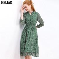 HELIAR Chiffon Womens Dresses For Autumn 2019 Green Flower Pattern Draped Leaf Print Chiffon Dress Casual Knee Pleat Waist Dress