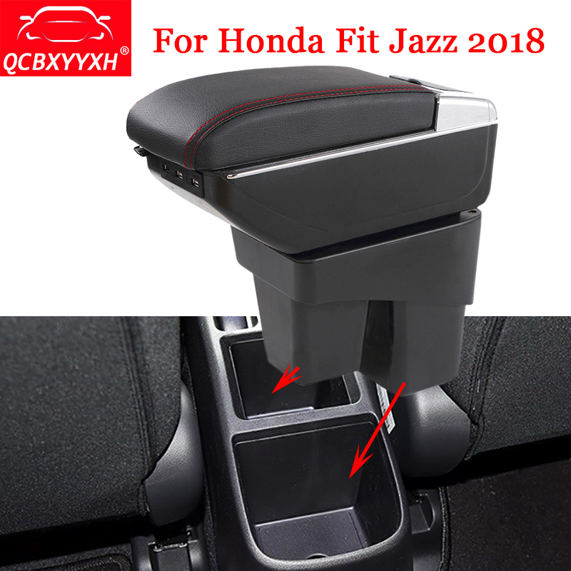QCBXYYXH Car Styling ABS Car Armrest Box Center Console Storage Box Holder Case For Honda Jazz Fit 2018 Decoration Accessories hot black armrest storage box storage box armrest center console for honda fit 2014 2015 only fit for low equiped model