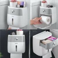 Montagem na parede à prova dwaterproof água suporte de papel higiênico toalha para o banheiro tecido caixa de papel rack banheiro tecido fixado na parede quente|Cestos e caixas de armazenamento| |  -
