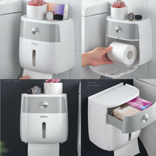 Waterproof Wall Mount Toilet Paper Holder Towel For Bathroom Tissue Paper Box Rack Bathroom Toilet Tissue Tube Storage Box Tray(China)