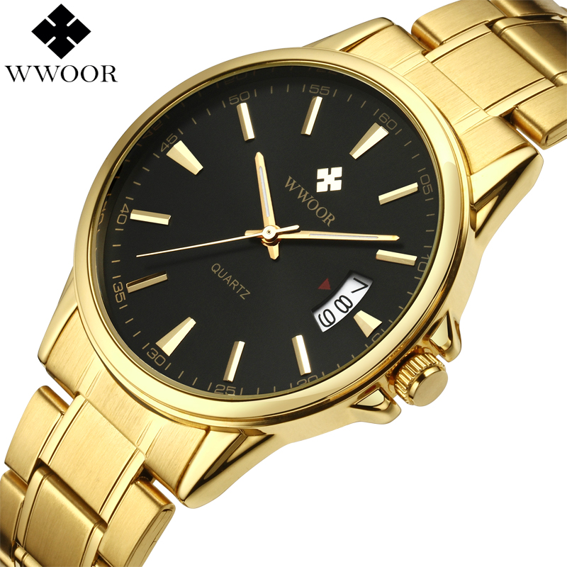 все цены на New Men's Watches Gold Business Waterproof Sport Quartz Watch Men Brand Luxury WWOOR Date Clock Male Stainless Steel Wrist Watch